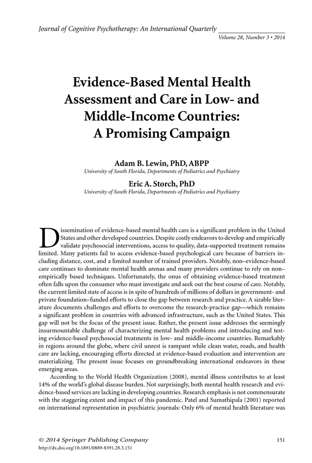 Evidence Based Mental Health Assessment And Care In Low And Middle Income Countries A Promising Campaign Springer Publishing