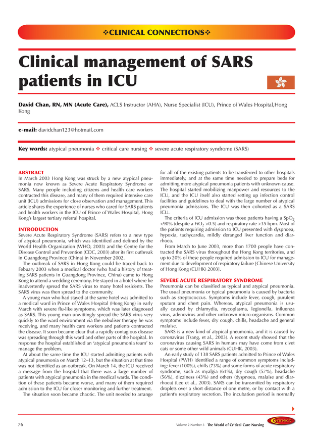 Clinical management of SARS patients in ICU | Springer